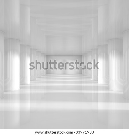 Empty Room with Big Columns - 3d illustration - stock photo