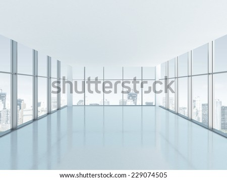 Empty room with big panoramic window  - stock photo
