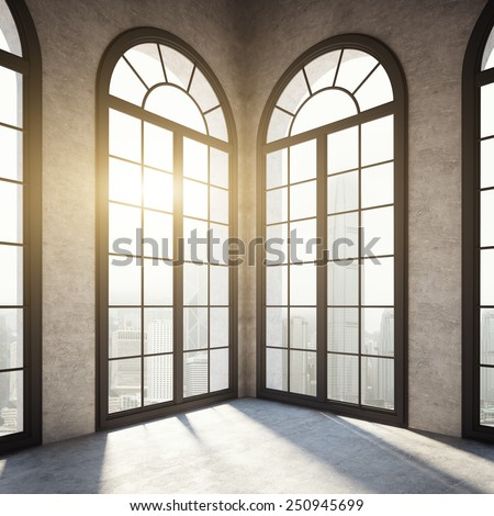 Empty room with black windows. 3d rendering - stock photo