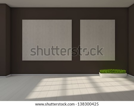 empty room with blank pictures on the wall