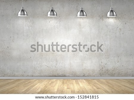 Empty room with blank wall and lamps at ceiling - stock photo