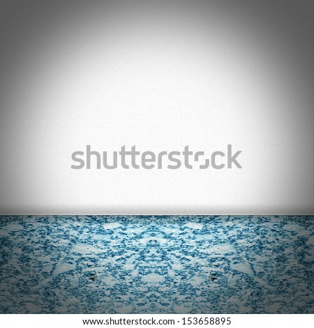 Empty room with blue marble floor and white structured wallpaper - stock photo