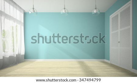 Empty room with blue wall 3D rendering  - stock photo