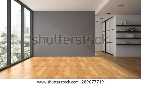 Empty room with book shelfs 3D rendering  - stock photo
