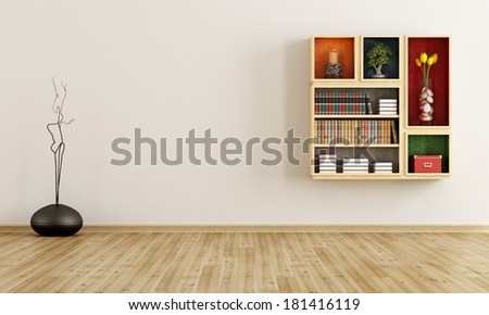 Empty room with bookcase on wall - rendering - stock photo