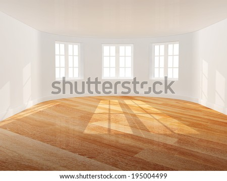 Empty room with bow window - stock photo