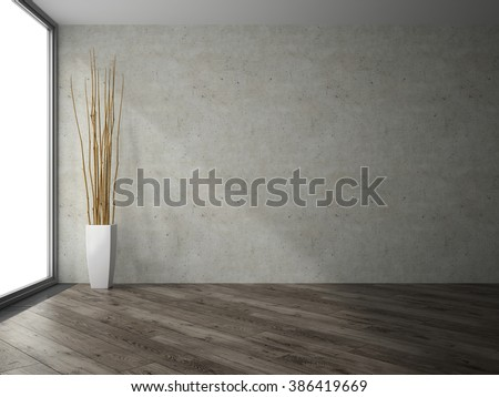 Empty room with branches decor 3D rendering