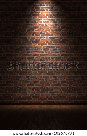 Brick Wall Light: Empty room with brick wall and light from above,Lighting