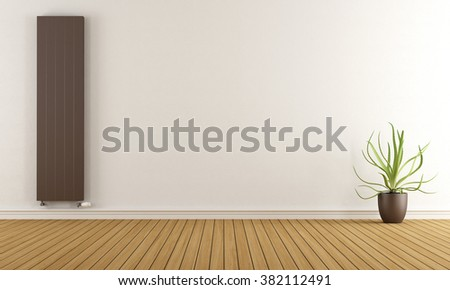 Empty room with brown heater and plant - 3D Rendering - stock photo
