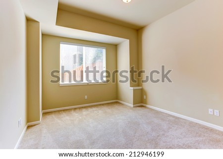 Empty room with carpet floor and designed wall
