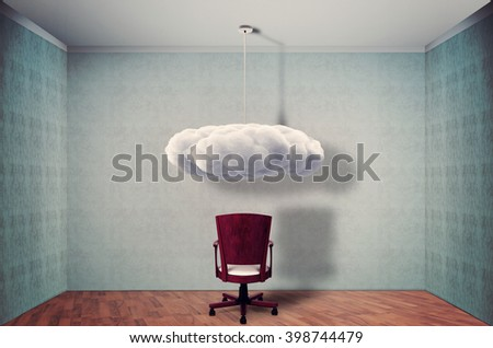 Empty room with chair and cloud