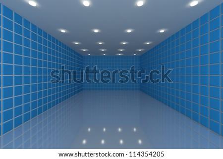 Empty room with color blue tile wall - stock photo