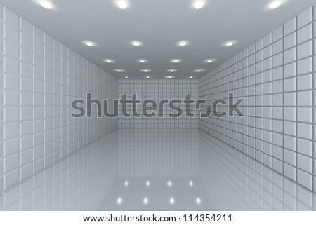 Empty room with color white tile wall - stock photo