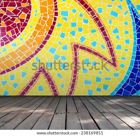 Empty room with Colorful mosaic tile wall and wooden floor interior background, Template for product display - stock photo