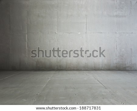 empty room with concrete wall, grey background  - stock photo