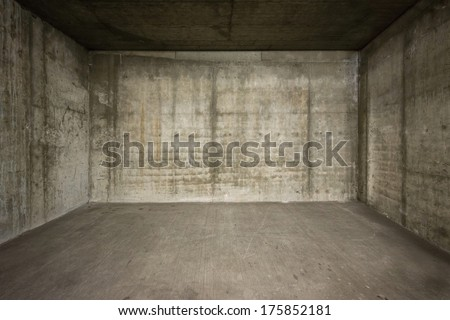 Empty room with concrete walls and floor.