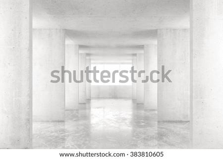 Empty room with concrete walls, concrete floor and big window, 3D render - stock photo