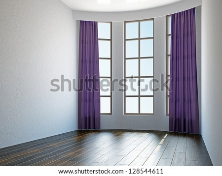 Empty room with curtains and a windows - stock photo