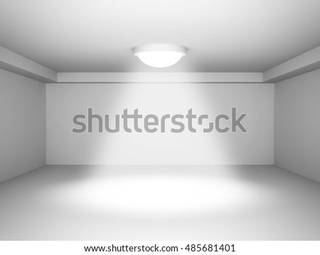 Empty Room With Decorate Spot Light. Interior Background. 3d Render Illustration