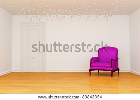 Empty room with door and purple chair - stock photo