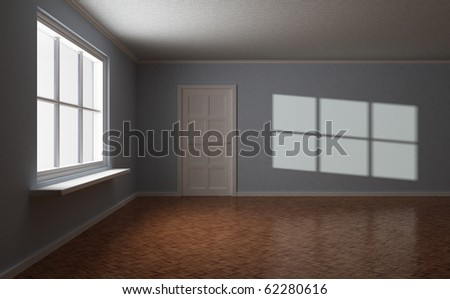 Empty room, with door and window, sun highlight on the wall, 3d illustration - stock photo