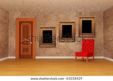Empty room with door, red chair and three picture frames