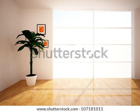 empty room with flower - stock photo