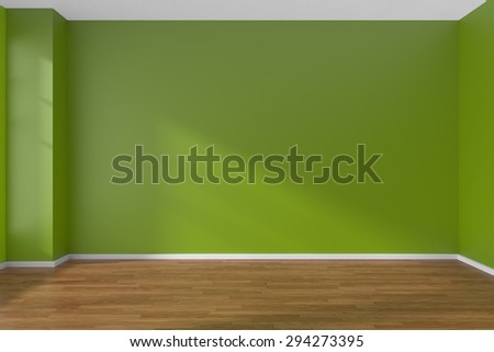 Empty room with green flat smooth walls and wooden parquet floor under sun light through window, 3D illustration