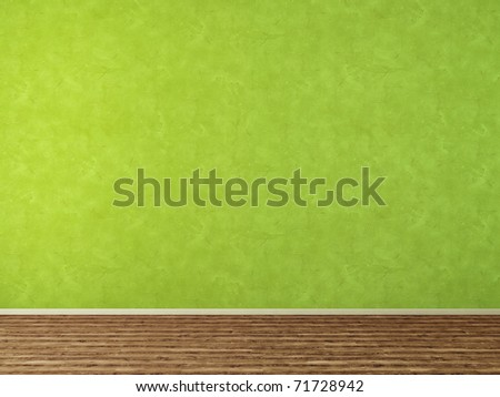 Empty room with green stucco wall - stock photo