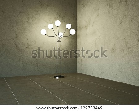 Empty room with lamp near the wall - stock photo