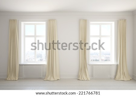 Empty room with long curtains on the windows - stock photo