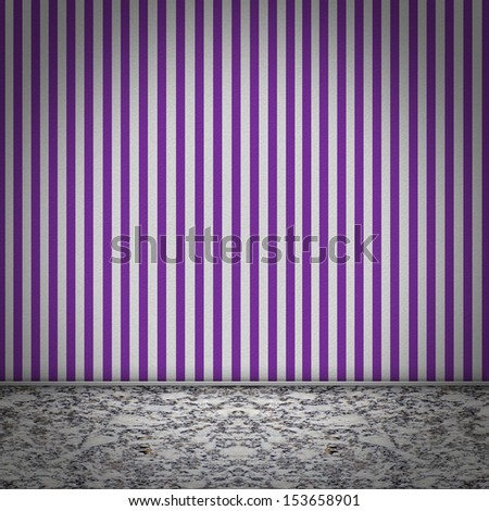 Empty room with marble floor and purple striped wallpaper - stock photo