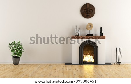 Empty room with minimalist fireplace with ethnic decor objects - 3D Rendering - stock photo