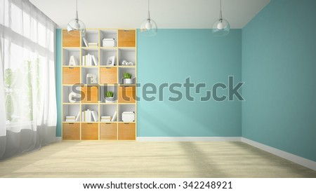 Empty room with niche shelf 3D rendering  - stock photo