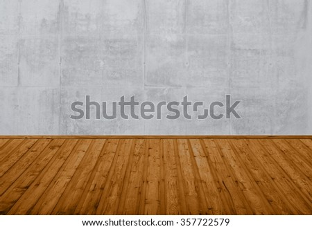 empty room with old wooden floor and grey wall