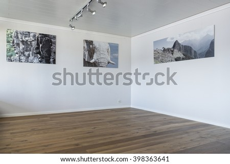 Empty room with parquet floor and individual posters hanging on the wall - stock photo
