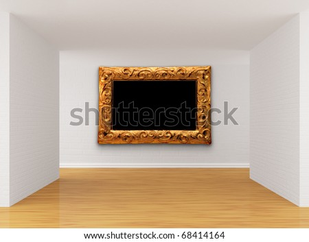 Empty room with picture frame - stock photo