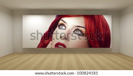 Empty room with red hair young picture, art gallery concept, 3d illustration - stock photo