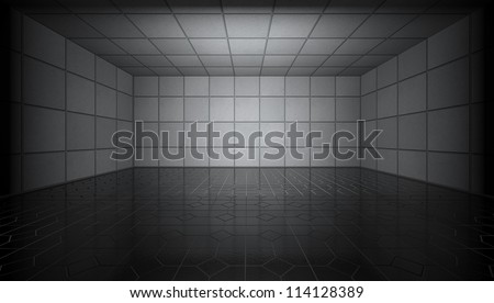 empty room with reflection floor - stock photo