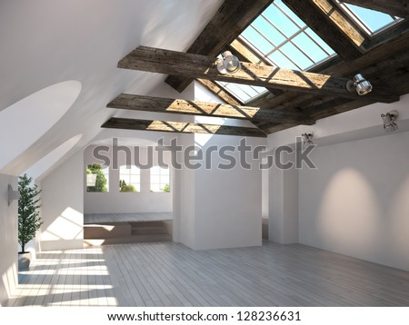 Empty room with rustic timber ceiling and skylights - stock photo
