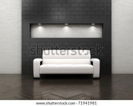 empty room with sofa - stock photo