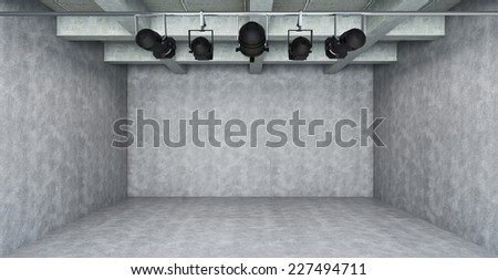 Empty Room with spotlight- 3d Perspective - stock photo