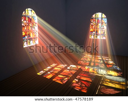 Empty room with stained windows - stock photo