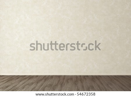 Empty room with stucco wall and dark wooden floor - stock photo