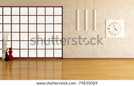 empty room with stucco wall and parquet-rendering - stock photo