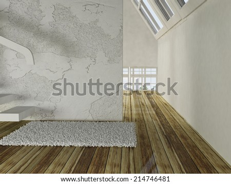empty room with the stairs and a carpet - stock photo