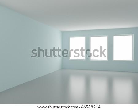 Empty room, with three windows, 3d illustration - stock photo