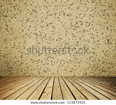 Empty room with wall and wooden floor interior background - stock photo