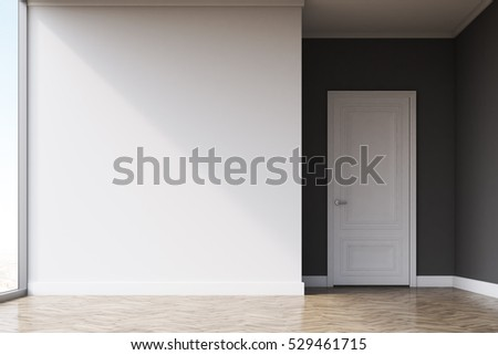 Empty room with white and gray walls and door, large panoramic windows and light wood floor. Concept of a new apartment. 3d rendering. Mock up