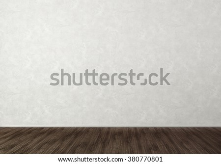 Empty Room with White Wall and Dark Floor - stock photo